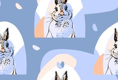 Hand drawn vector abstract collage drawing cute seamless pattern with realistic rabbits in pastel colors.Easter Royalty Free Stock Photography