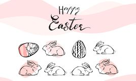 Hand drawn vector abstract collage with Easter eggs and white bunny composition in pastel colors  on white Stock Images