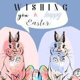 Hand drawn vector abstract collage funny poster with realistic rabbits,Easter eggs and Happy Easter quotes in pastel. Colors.Easter bunnies background.Cute stock illustration