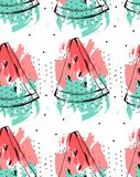 Hand drawn vector abstract collage seamless pattern with watermelon fruit isolated on white background.Unusual Royalty Free Stock Photography
