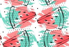 Hand drawn vector abstract collage seamless pattern with watermelon fruit isolated on white background.Unusual Royalty Free Stock Image