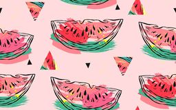 Hand drawn vector abstract collage seamless pattern with watermelon motif,triangle hipster shapes and artistic freehand vector illustration