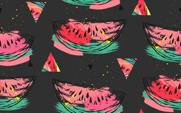 Hand drawn vector abstract collage seamless pattern with watermelon motif and triangle hipster shapes isolated on black Royalty Free Stock Photography
