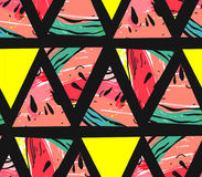 Hand drawn vector abstract collage seamless pattern with watermelon motif and triangle hipster shapes isolated on black. Background vector illustration