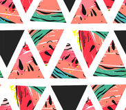 Hand drawn vector abstract collage seamless pattern with watermelon motif and triangle hipster shapes isolated on white Stock Images