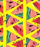 Hand drawn vector abstract collage seamless pattern with watermelon motif and triangle hipster shapes isolated on yellow Royalty Free Stock Photography