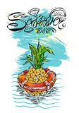 Hand drawn vector abstract color graphic template card with pineapple swimming in lifebuoy in ocean waves. Illustration of tropical exotic fruit.Beach vector illustration