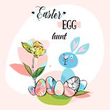 Hand drawn vector abstract creative cute Easter greeting card. Template with graphic flowers,eggs,funny rabbit and phase Easter egg hunt in pastel colors.Spring royalty free illustration