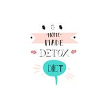 Hand drawn vector abstract creative detox diet sign stamp with handwritten modern calligraphy quote Home made Detox diet. Isolated on white background.Menu,logo Royalty Free Stock Photos