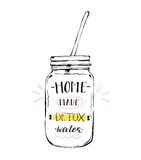 Hand drawn vector abstract creative detox water sign with glass jar and handwritten modern calligraphy quote Home made Stock Image