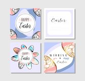 Hand drawn vector abstract creative Easter greeting cards collection set templates with painted golden Easter eggs. On violet backgrounds.Design for Royalty Free Stock Photos