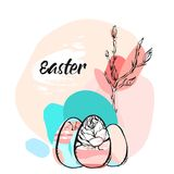 Hand drawn vector abstract creative Easter greeting illustration with floral brunch and abstract brush painted eggs in. Pastel colors isolated on white Royalty Free Stock Photos