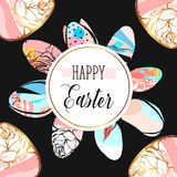 Hand drawn vector abstract creative Easter greeting postcard design template with painted Easter eggs isolated on black Royalty Free Stock Images