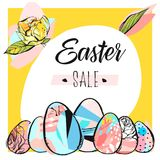 Hand drawn vector abstract creative Easter sale card template. With Spring flowers and Easter eggs collection in yellow color isolated on white background Royalty Free Stock Image