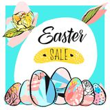 Hand drawn vector abstract creative Easter sale card template with Spring flowers and Easter eggs collection in blue. Color isolated on white background.Unusual Royalty Free Stock Image