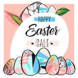 Hand drawn vector abstract creative Easter sale card template. With Spring flowers and Easter eggs collection in yellow color isolated on white background Stock Image
