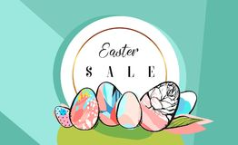 Hand drawn vector abstract creative Easter Sale greeting borders design template with drawing Easter eggs with golden vector illustration