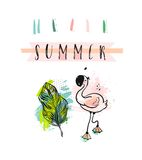 Hand drawn vector abstract creative funny cute Summer time illustration with pink flamingo,tropical palm leaves and. Modern calligraphy quote Hello summer in Royalty Free Stock Photos