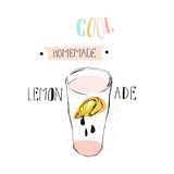 Hand drawn vector abstract creative funny lemonade illustration with glass beaker,lemon slise,drops and handwritten ink Royalty Free Stock Image