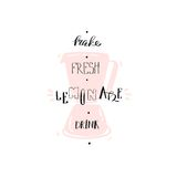 Hand drawn vector abstract creative funny sign stamp with blender mixer and handwritten modern calligraphy quote Make. Fresh lemonade drink isolated on white Stock Images