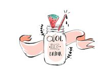 Hand drawn vector abstract creative funny summertime sign illustration with glass jar,ribbon,watermelon,brunches and Royalty Free Stock Image