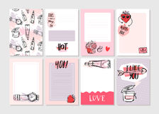 Hand drawn vector abstract creative girlie printable journaling cards template set collection in pink pastel colors with Stock Images