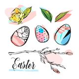 Hand drawn vector abstract creative graphic brush painted Easter design elements. Collection set with brunch,flower,leaves and colorful Easter eggs isolated on stock illustration