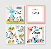 Hand drawn vector abstract creative Happy Easter greeting card design collection set template with flowers,Easter eggs. And bunny in pastel colors isolated on royalty free illustration