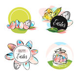 Hand drawn vector abstract creative Happy Easter greeting card design,stickers,badges,tags,signs collection set template. With Spring flowers and Easter eggs Stock Photos