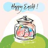 Hand drawn vector abstract creative Happy Easter greeting card. Hand drawn vector abstract creative Happy Easter greeting card design template with glass jar Stock Photo