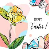 Hand drawn vector abstract creative Happy Easter greeting card design template with illustrations of Easter eggs,Happy. Easter phase and flower in yellow,green vector illustration