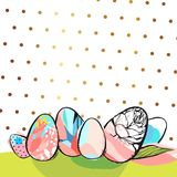Hand drawn vector abstract creative Happy Easter greeting card design template with painted Easter eggs on green grass Stock Photography