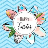 Hand drawn vector abstract creative Happy Easter greeting card design template with painted Easter eggs collection and. Happy Easter phase on blue color trendy royalty free illustration