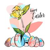 Hand drawn vector abstract creative Happy Easter greeting illustration with abstract brush painted textured eggs in. Pastel colors isolated on white background vector illustration