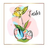 Hand drawn vector abstract creative Happy Easter greeting illustration with abstract brush painted textured eggs in. Pastel colors isolated on white background stock illustration