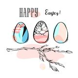 Hand drawn vector abstract creative Happy Easter greeting illustration with floral brunch and abstract brush painted. Eggs in pastel colors isolated on white Stock Image