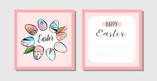 Hand drawn vector abstract creative Happy Easter greeting postcards. Design template with painted Easter eggs frame and Happy Easter phase in pastel colors Stock Photos