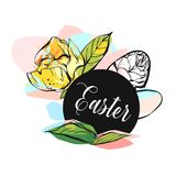 Hand drawn vector abstract creative Happy Easter greeting sign. With abstract brush painted textured eggs and graphic flower in pastel colors isolated on white royalty free illustration