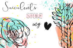 Hand drawn vector abstract creative header with succulent flower,cacti plants and modern calligraphy quote Succulents. Hand drawn vector abstract creative header Stock Photo