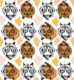 Hand drawn vector abstract creative seamless pattern with tiger face illustration and geometric elements in orange Royalty Free Stock Image
