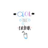 Hand drawn vector abstract creative sign stamp with handwritten modern calligraphy quote Cool Ice Drink with ice cubes. Isolated on white background.Menu,logo Stock Photos
