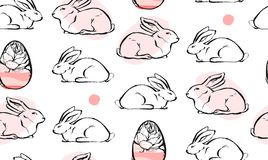 Hand drawn vector abstract creative universal Easter seamless pattern design with white rabbits and Easter eggs in. Pastel colors  on white background.Spring Royalty Free Stock Photography