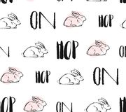 Hand drawn vector abstract creative universal Easter seamless pattern design with white rabbits and hop on quote in Stock Photo