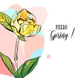 Hand drawn vector abstract creative universal unusual Hello spring greeting card illustration with graphic flower in. Pastel colors isolated on white background Royalty Free Stock Photo