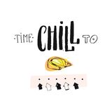 Hand drawn vector abstract creative unusual funny summer time ink handwritten modern calligraphy quote Time to Chill. With lemon and arrows isolated on white Royalty Free Stock Image