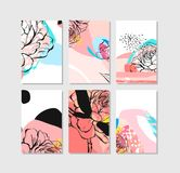 Hand drawn vector abstract creative unusual save the date cards template collection set with graphic flowers in pastel Royalty Free Stock Image
