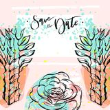 Hand drawn vector abstract creative unusual universal save the date card template with graphic flowers and succulents in. Pastel colors.Hand made textures Stock Images