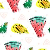 Hand drawn vector abstract cute funny summer time fruits seamless pattern with watermelon,lemon,mint leaves and freehand Stock Photos