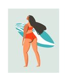 Hand drawn vector abstract cute summer time beach surfer girl illustration with red swimwear and surfboard isolated on Stock Image