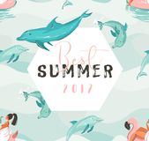 Hand drawn vector abstract cute summer time card with beach girl swimming on pink flamingo float circle, dolphins in Stock Images